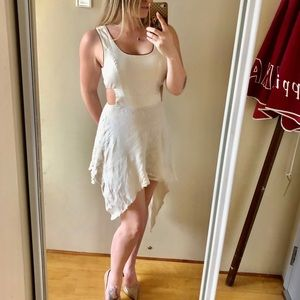 Linen hi-low cutout dress
